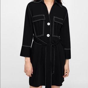 ZARA   Belted Contrast Stitch Shirt Dress Black Size XS